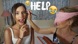 BLINDFOLDED MAKEUP CHALLENGE | Manuella