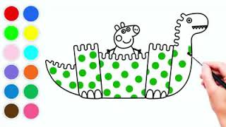 How To Draw and Color Peppa Pig George in his Dinosaur - Coloring Pages for Kids