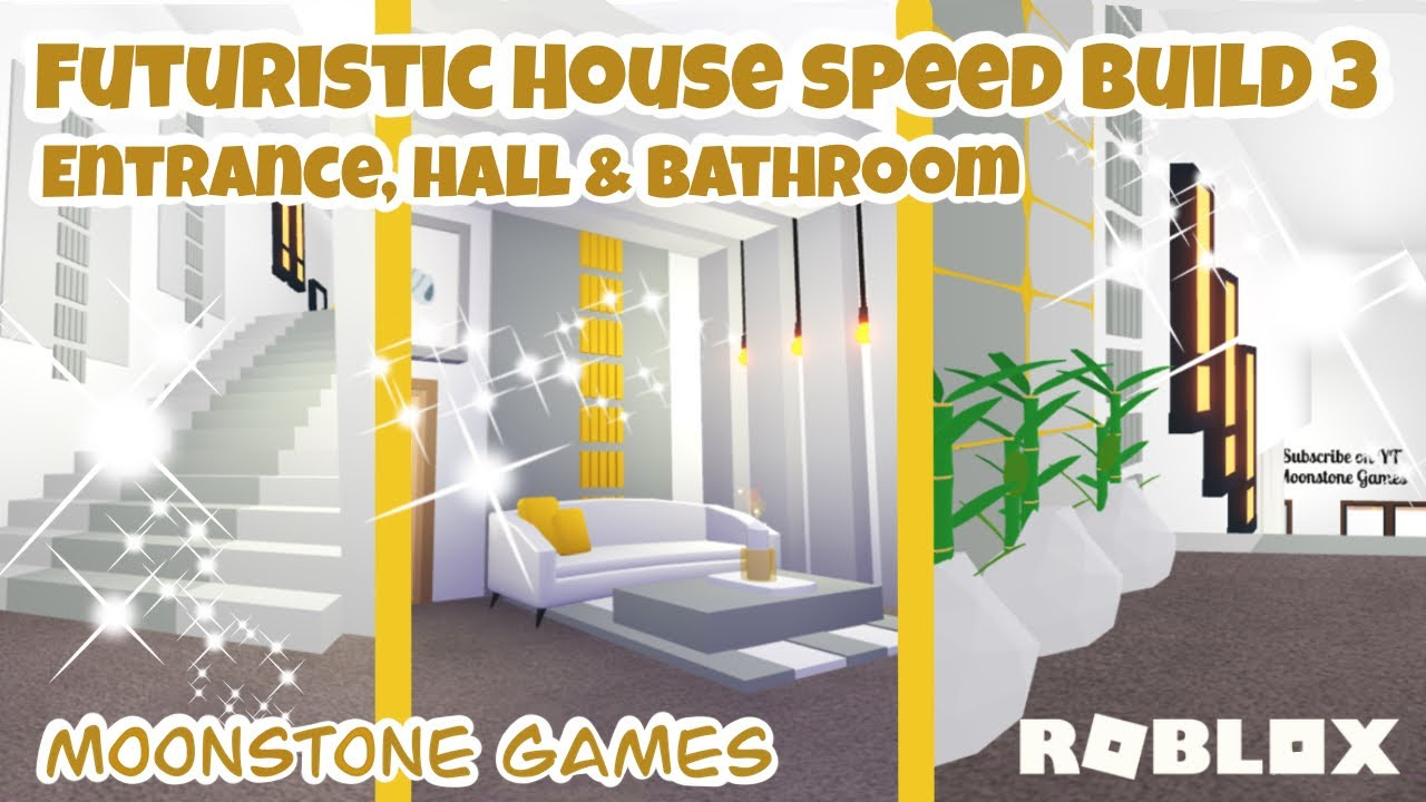 Adopt Me Futuristic House Speed Build Part 3 Entrance Hall Bathroom Aesthetic Home Youtube