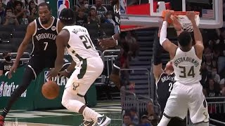 Jrue Holiday INSANE NutMeg Pass on Kevin Durant \u0026 Giannis Flexes after Crazy Dunk on Blake Griffin !