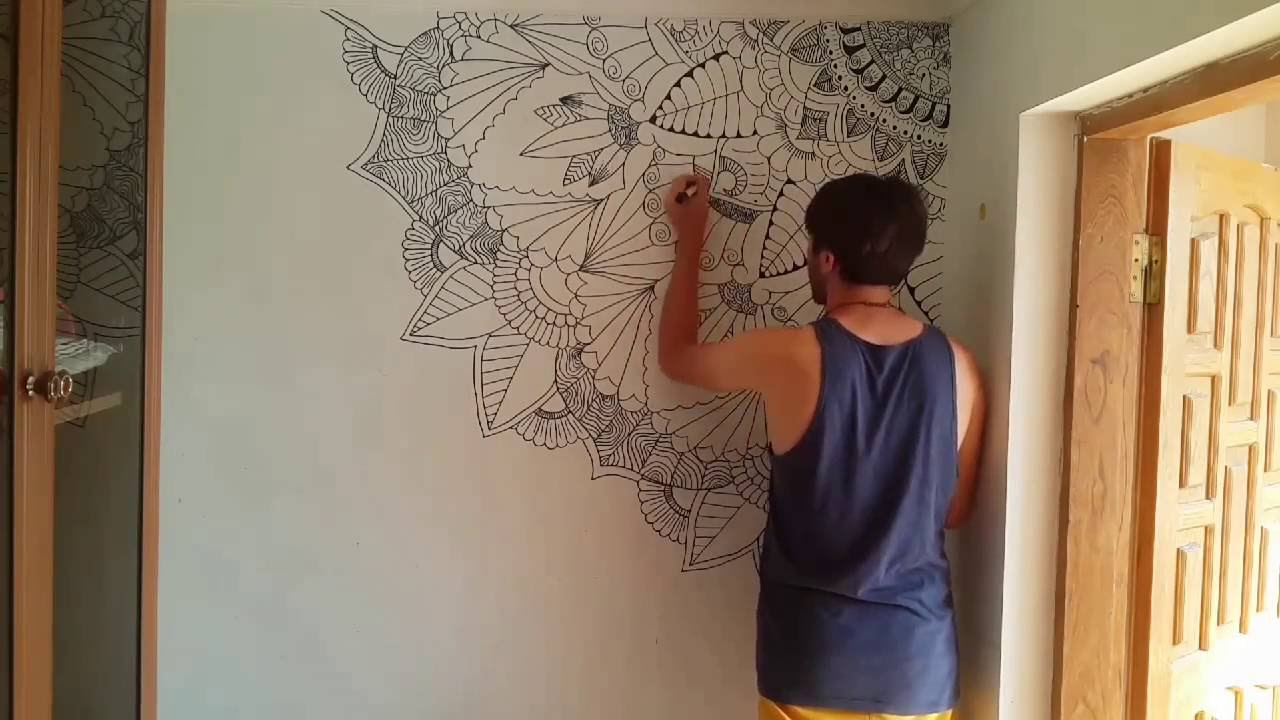 doodle art on the wall - YouTube