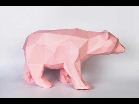 Медведь из бумаги в стиле Low Poly!!! Часть 1