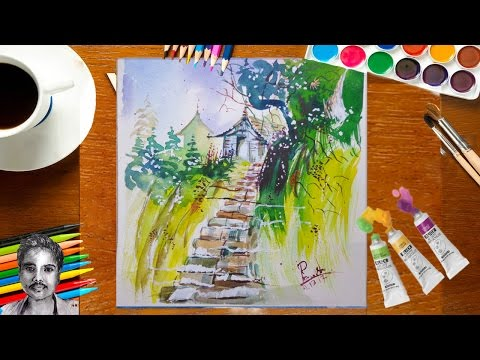 How to Draw Landscape Painting a Hill House With watercolor