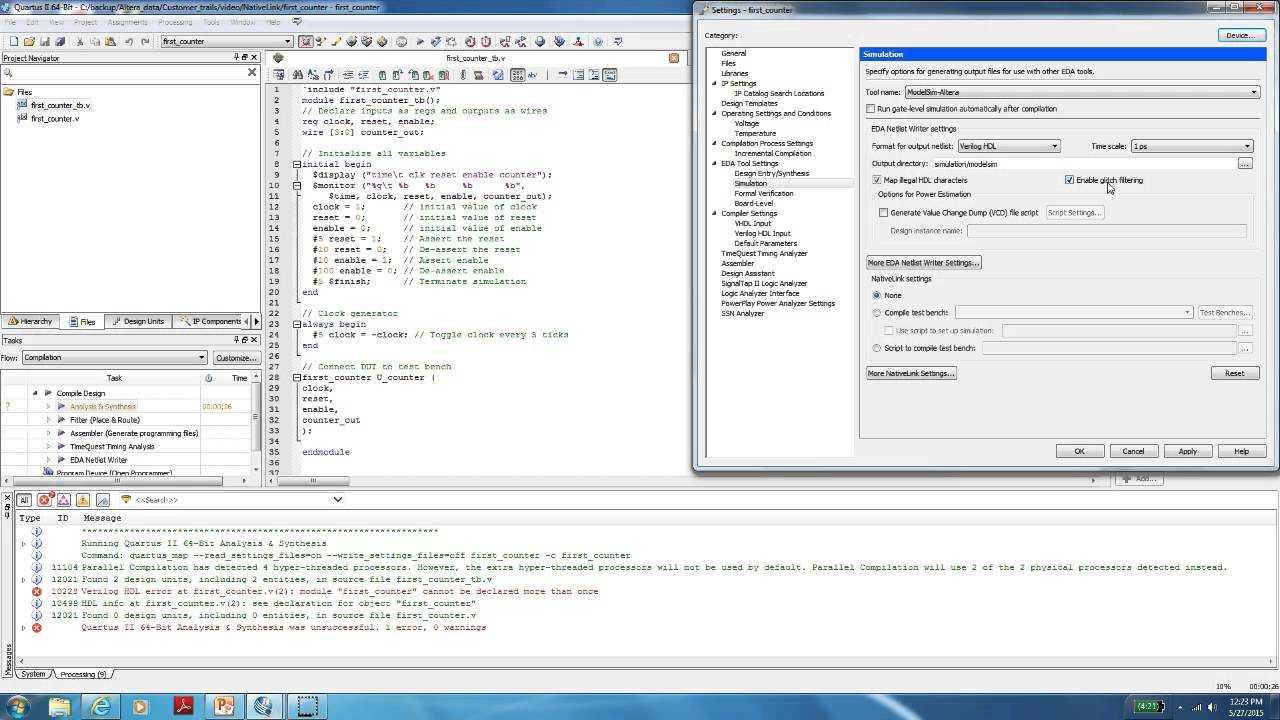 How to setup Native link for Simulation using Altera Quartus II tool