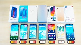 Battery Drain Test 2019!  Samsung Galaxy A50, Xiaomi Mi 9, Mi 9 SE, Redmi Note 7, iPhone 7, Honor 20