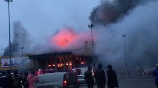 Пожар в гипермаркете Лента