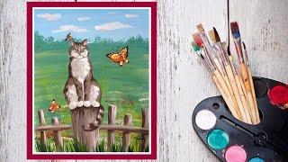 Как нарисовать кошку! Рисуем кота на заборе гуашью! #Dari_Art