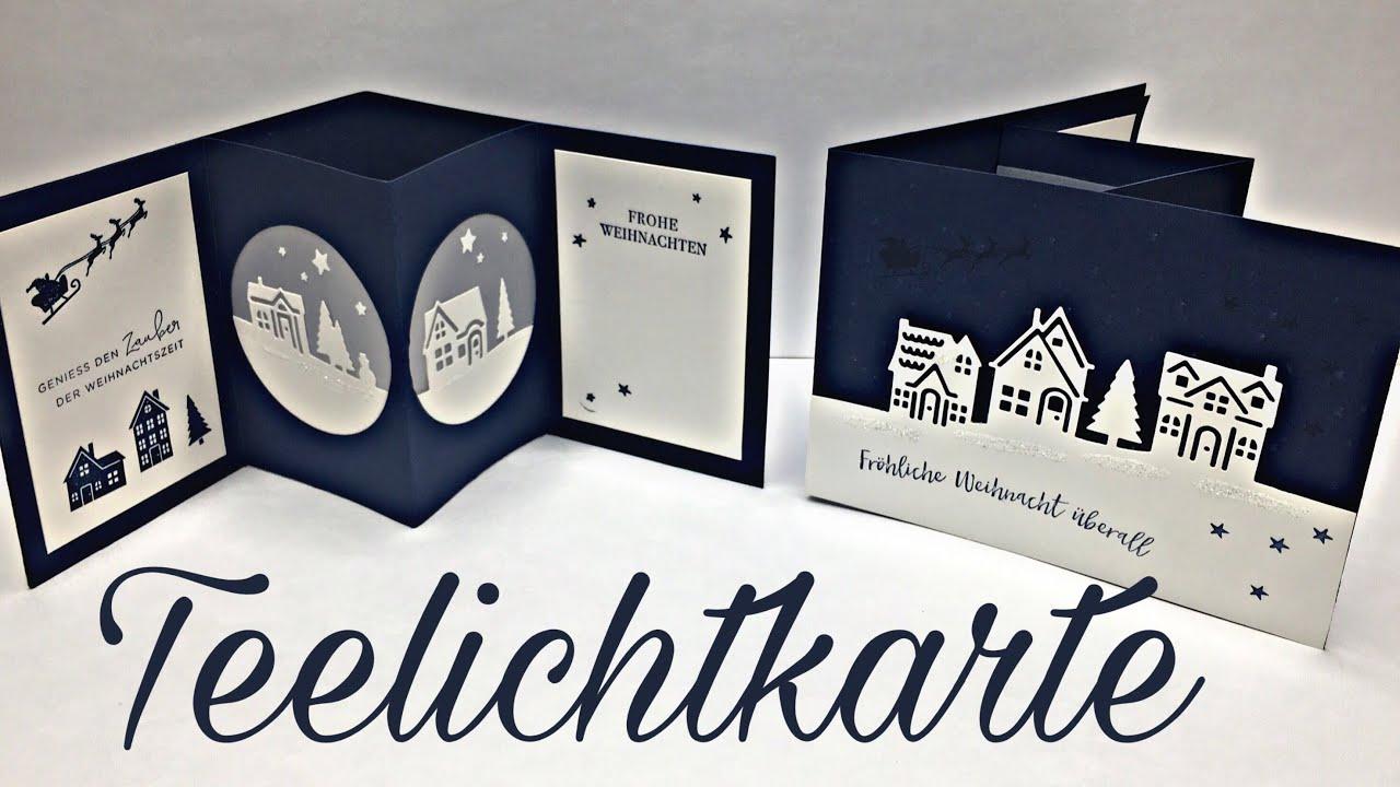 Stampin up teelichtkarte weihnachtskarte winterst dtchen - Interaktive weihnachtskarte ...