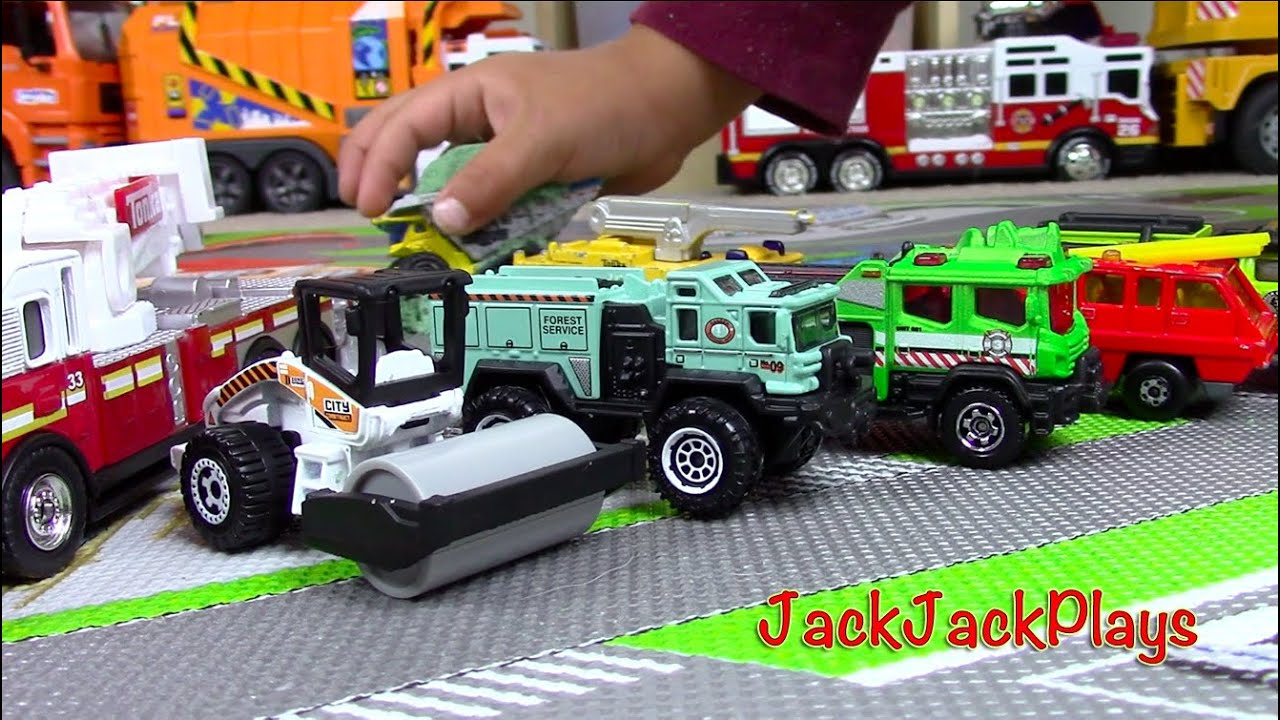 toy trucks for kids matchbox truck toys unboxing roller fire engines playing with kinetic. Black Bedroom Furniture Sets. Home Design Ideas