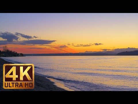 1 Hour - 4K Urban Relaxation Footage with Nature Sounds - Windy Evening at Alki Beach