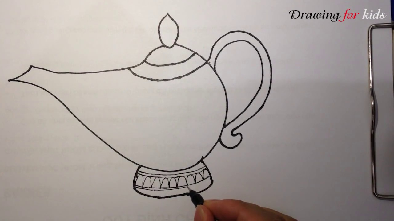 Aladdin Genie Lamp | How to draw the famous Magic Lamp step by ... for Magic Lamp Drawing  131fsj