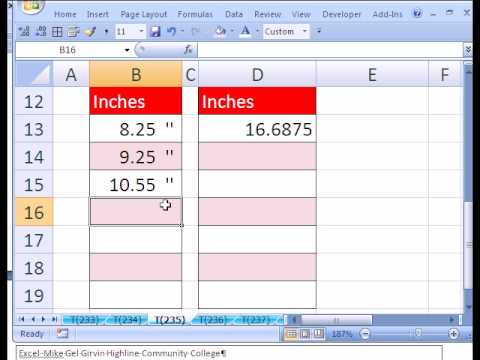 Excel Magic Trick 235 Custom Number Format For Inches Youtube