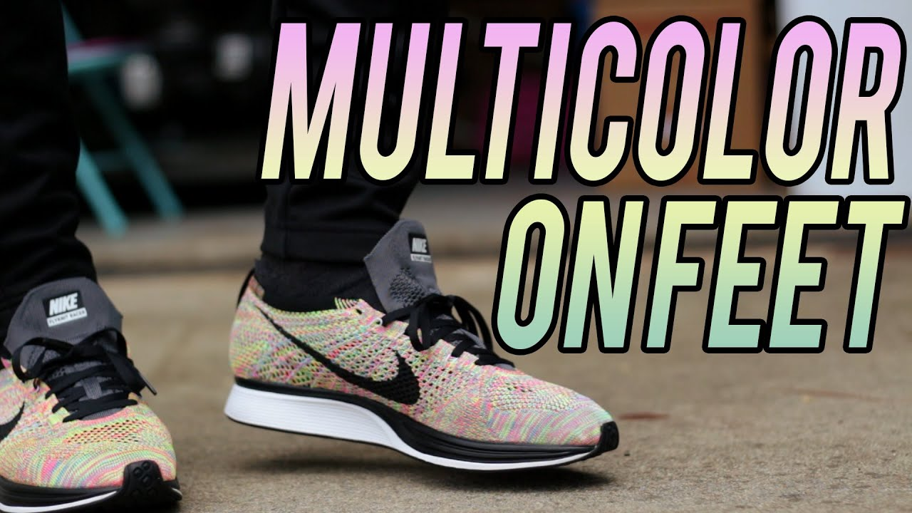 d7fc99e00b4b5 88950 9dca4  usa nike flyknit racer multicolor on foot youtube 2250d d577a