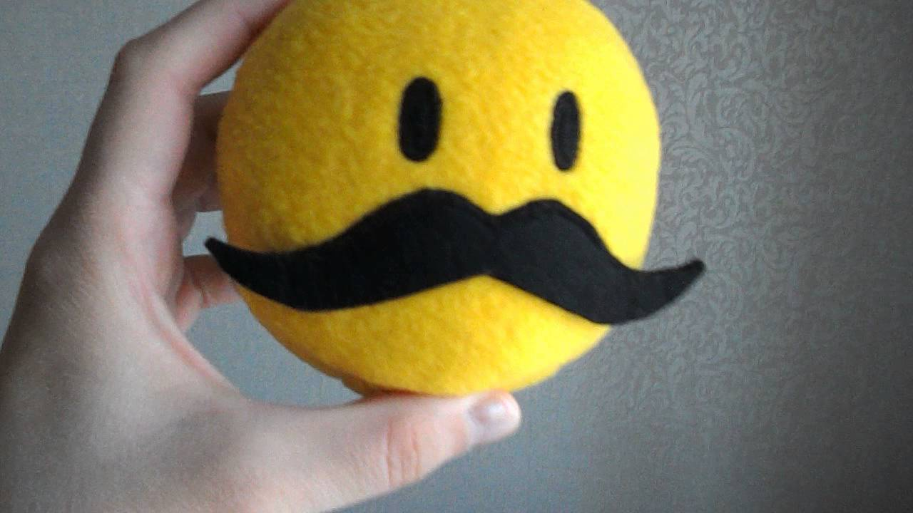 smiley face mustache stuffed handmade toys mustache toys