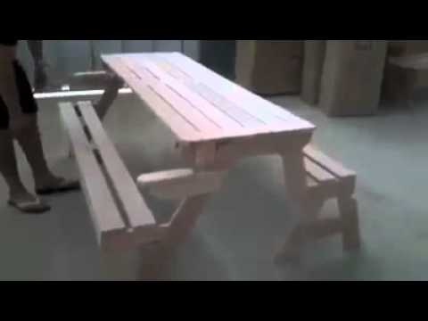 convertible bench to picnic table in 3 seconds - youtube