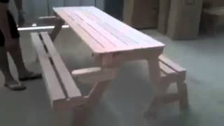 Convertible Bench To Picnic Table In 3 Seconds