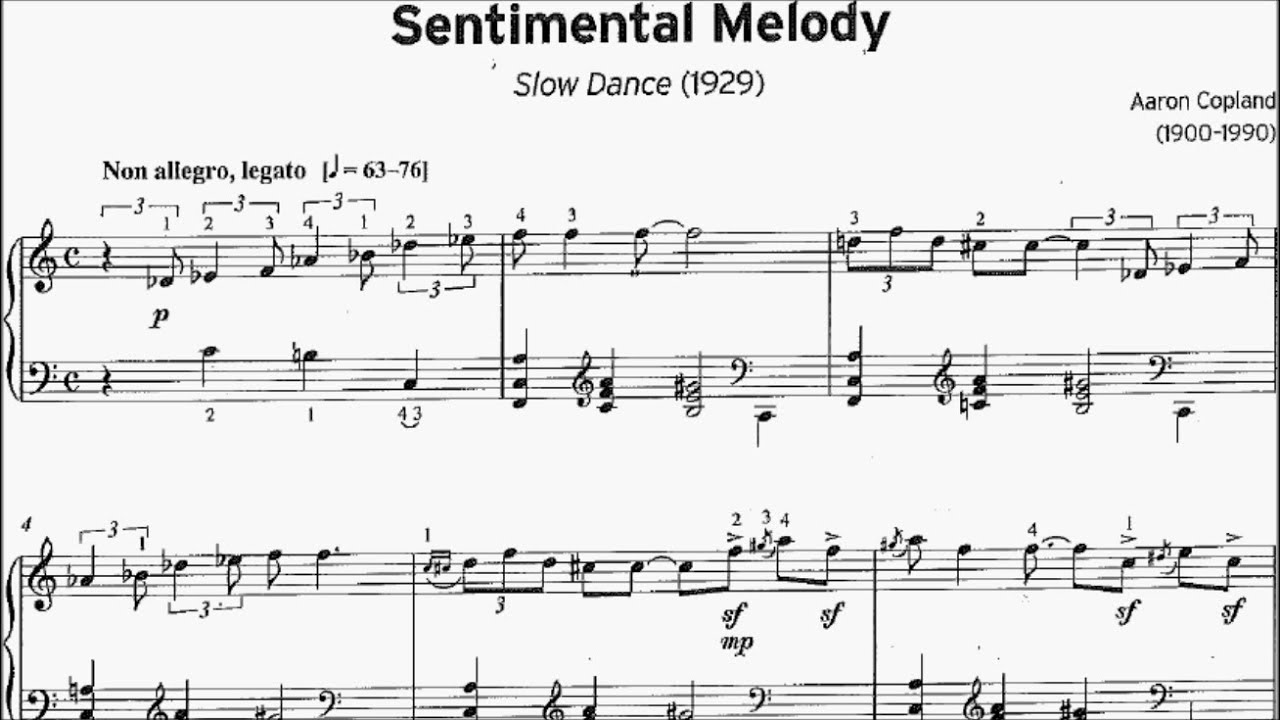Ameb Piano Series 18 Grade 7 D1 Copland Sentimental Melody Slow Dance Sheet Music Youtube