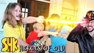 Superpower Pizza Man invades house for Mystery Ancient Artifact Heroes of Old Ep 2 | SuperHeroKids