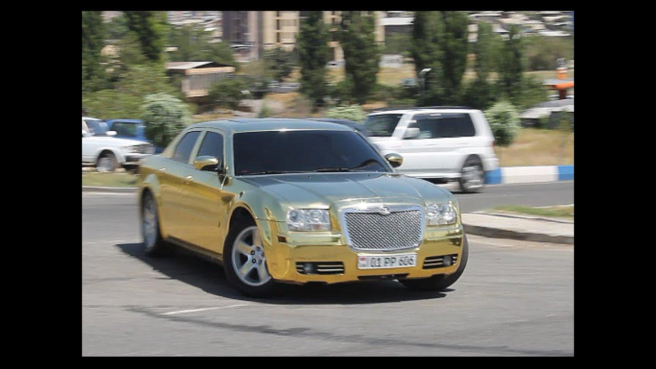 Chrysler 300 White >> Gold wrapped Chrysler 300C - YouTube
