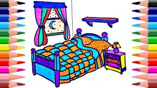 Girls Bedroom Coloring Pages | Princess House Decorating Colors Curtain Drawing Pages For Kid