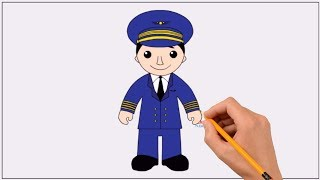 How to Draw a Pilot Step by Step Easy | Coloring Book Page and Drawing Learn Colors For Kids