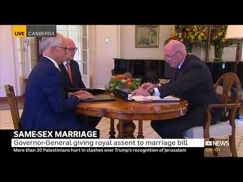 Governor General signs marriage equality into Australian Law