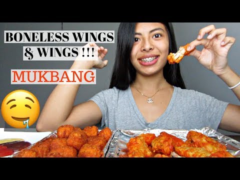 BONELESS WINGS & BUFFALO WINGS  MUKBANG!!!  HELLO Di