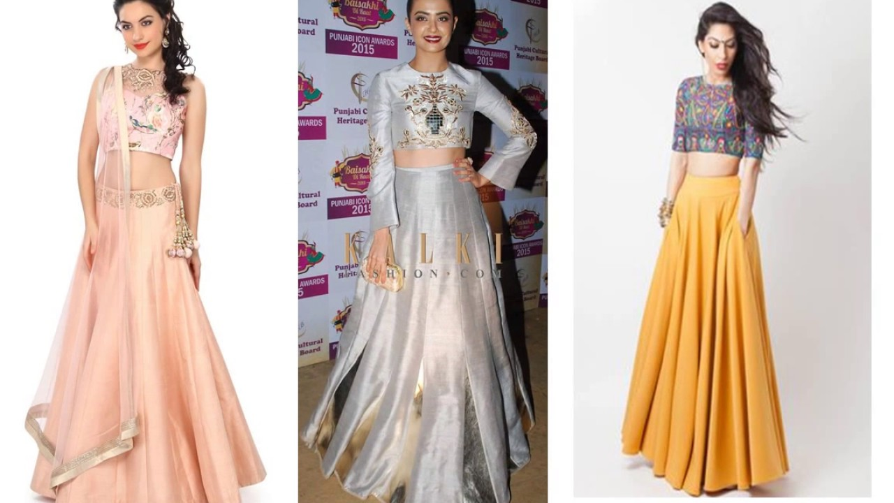 Modern dress design - Modern Fashionable Women Long Crop Top Lehenga Dress Design Ideas New Arrivals