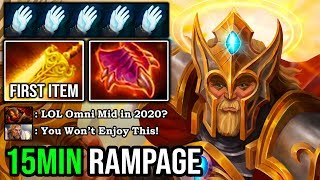 WTF 15MIN RAMPAGE Solo Mid Omniknight First Item Radiance 100% Destroyed Everyone 7.23f DotA 2