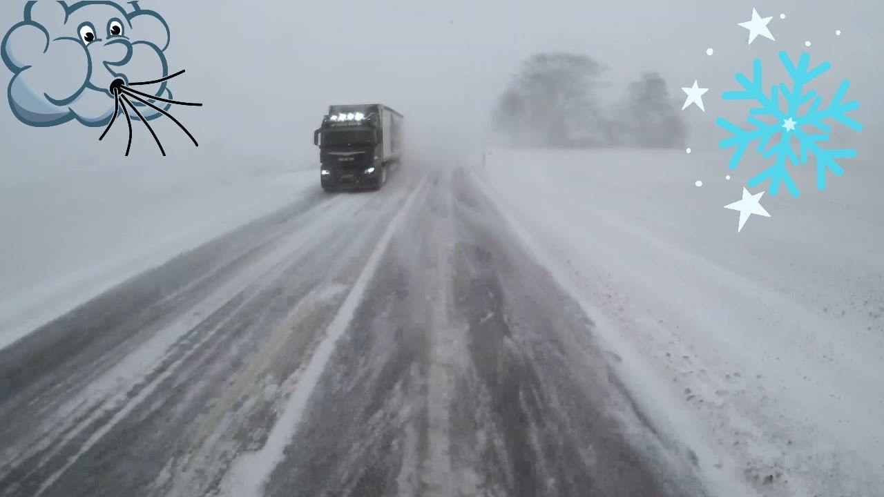 Scania Truck Driving Through a Blizzard - Relaxing drive?
