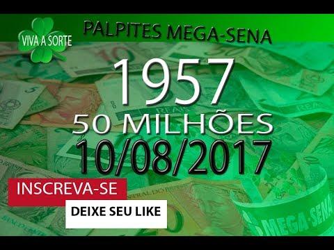 PALPITES PARA O CONCURSO 1957 DA MEGA SENA SORTEIO DIA 10-08-2017   QUINTA-FEIRA