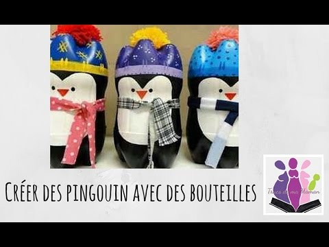 diy fabriquer un pingouin avec des bouteilles en plastique youtube. Black Bedroom Furniture Sets. Home Design Ideas