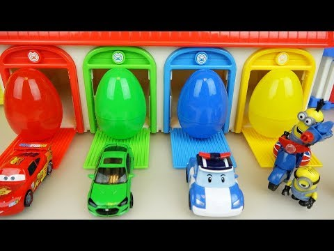 Thumbnail: Cars Poli and Minions toys with surprise eggs house play