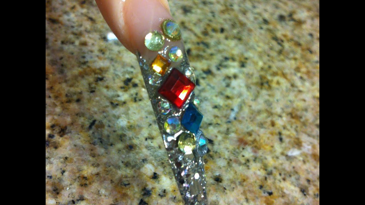 Uñas Acrilicas Stiletto - Diseño Jewels - YouTube