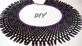 Колье из бисера и стекляруса. Мастер-класс для начинающих. Necklace from beads. Master class
