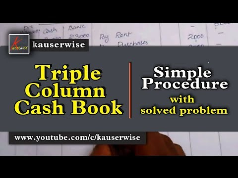 Triple column cash book with solution Cash book tutorial :-by kauserwise