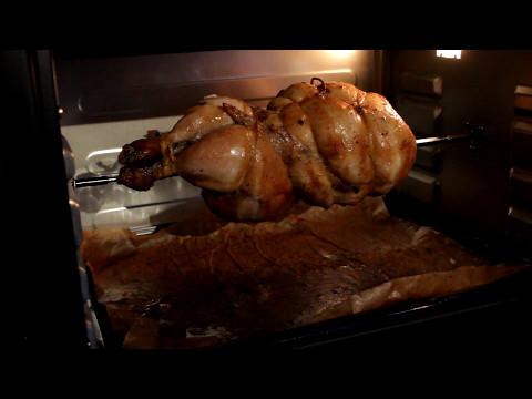Зажарить курицу-гриль на вертеле в духовке