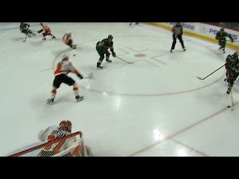 Nino Niederreiter breaks the ice with a one-timer 12 seconds in