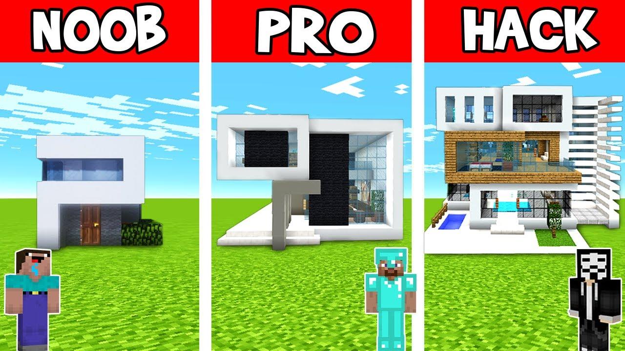 Minecraft: MODERN HOUSE BUILD CHALLENGE - NOOB vs PRO vs HACKER / Minecraft Animations