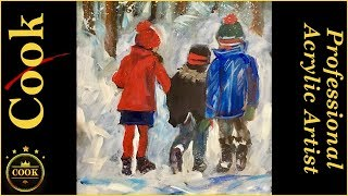 Painting Children Walking in The Snow in Acrylics with Ginger Cook