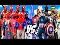 ALL SPIDERMAN SUIT vs THE AVENGERS - Hulk, Iron Man, Captain America, Black Widow, Thor, Vision