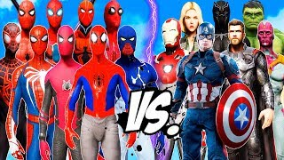 ALL SPIDERMAN SUIT vs THE AVENGERS - Hulk,  Captain America, Black Widow, Iron Man, Thor, Vision
