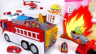 Fire~! Pororo fire truck turned into fire rescue! Pororo transformation fire truck! - DuDuPopTOY