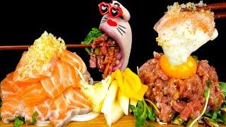 ASMR MUKBANG :) Salmon & Korean-style raw beef(YUKHOE) Eating Show!