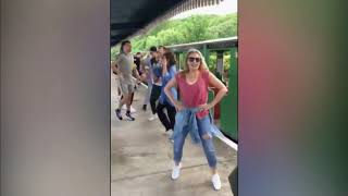 Kylie (Minogue) does the locomotion in Scarborough (UK) - ITV News - 2nd August 2019