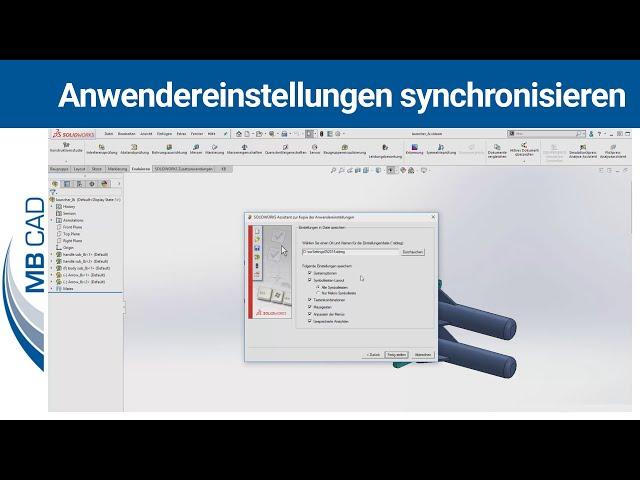 SOLIDWORKS Anwendereinstellungen synchronisieren