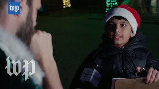 Kid pretends to be Santa to help an elf prepare for an interview
