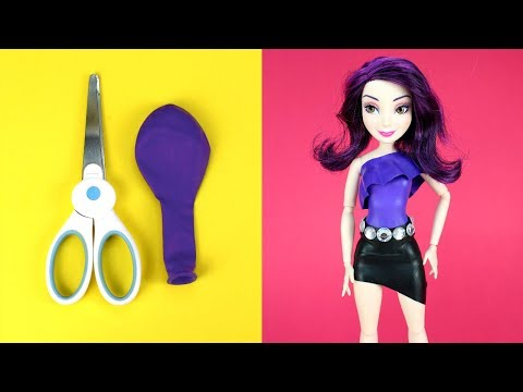 🍎 Descendants Dolls DIY Balloon Dresses Making Easy No Sew Clothes for Mal Evie Ally Jane Dolls