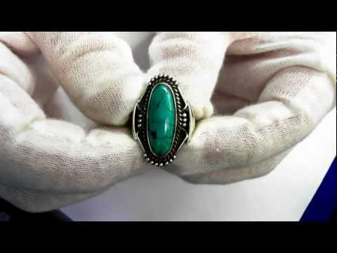 Vintage American Indian Ring(Circa 1950) - Sterling & Natural Turquoise