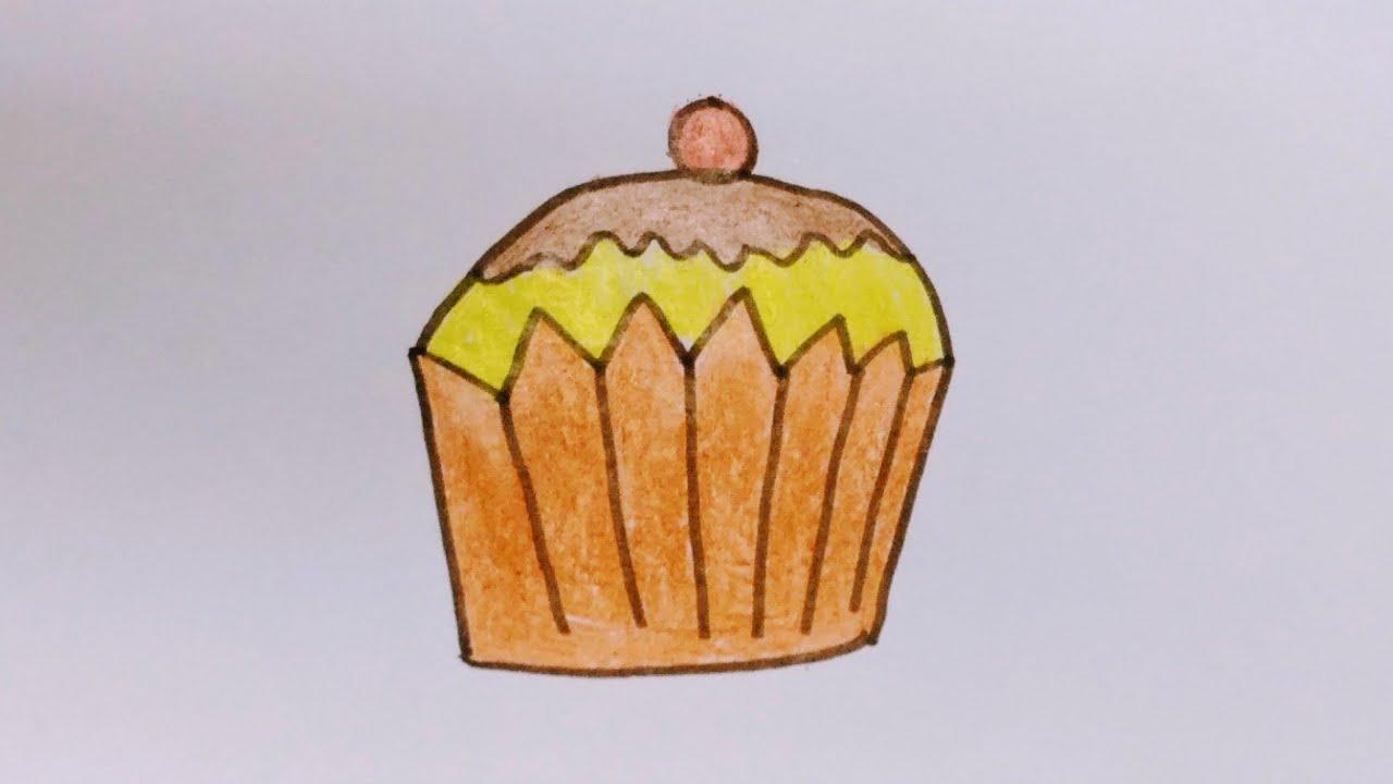 Cách vẽ bánh cupcake đơn giản_Chị Chuột Ú